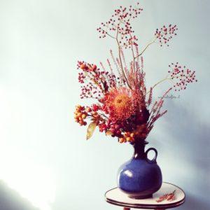 Fiori e Design, Vaso Vintage, Protea, vintage plant stand, arredare con i fiori