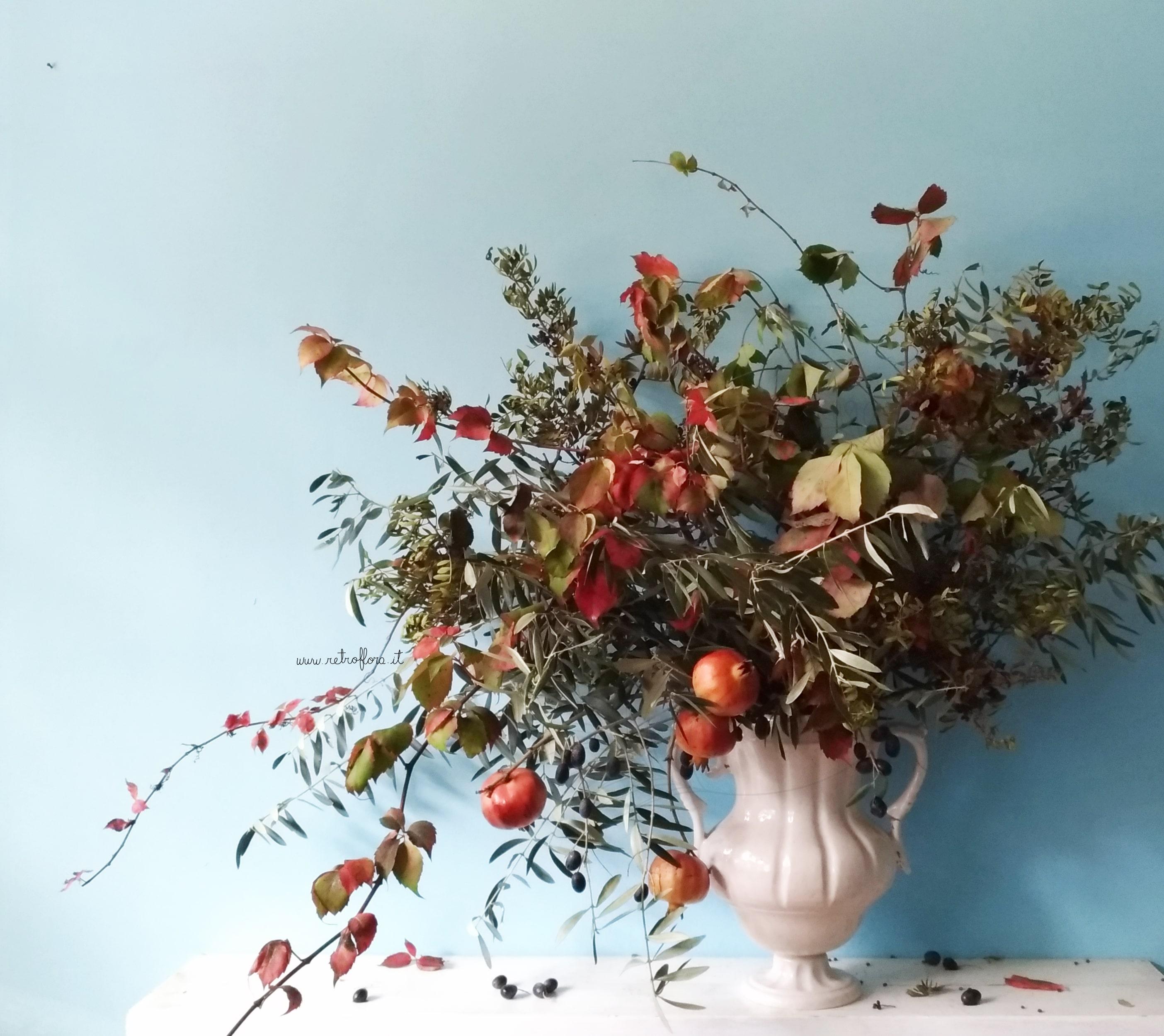Vaso di Fiori, composizione autunnale, vaso fiori autunnale, Anfora Autunnale, autumnal urn