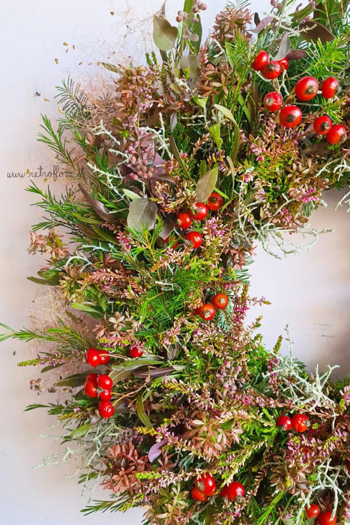 Ghirlanda Invernale, ghirlanda dei soslstizi, ghirlanda natalizia retroflora